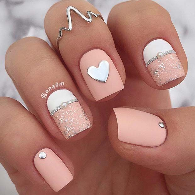 Light Pink and White Heart Nails for Valentine's Day
