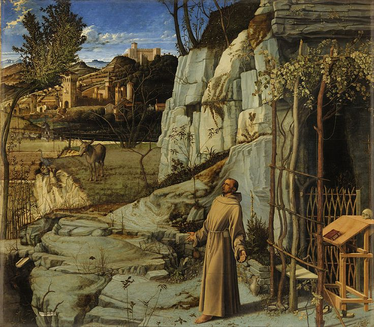 Giovanni Bellini, St. Francis in Ecstasy, 1480 - this work Resembles a stigmatization (receiving the wounds of the crucified body of Christ on the hands, feet & side), bur this scene is in fact is a meditation on Francis identification with creation. Francis stretches out his arms and looks skyward, where, in traditional Franciscan stigmatisations, one would expect to find a seraph. Natural beauty and light are sufficient to describe the divine.