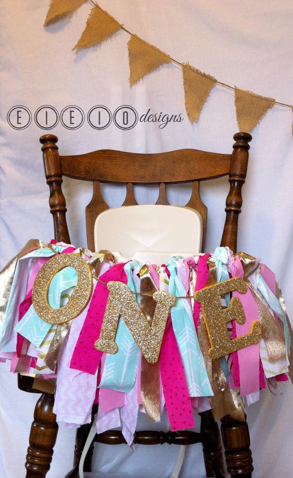 Pink GOLD & MINT birthday high chair banner  di eieiodesigns