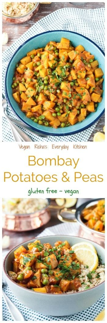 Vegan Richa's Bombay Potatoes and Peas - deliciously spiced and perfect as a side dish, or served with chickpeas over rice for a main meal.