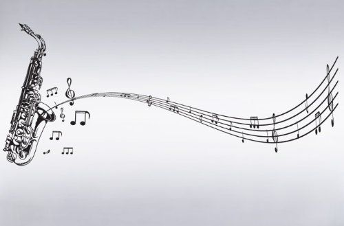 Vinyl Wall Art Decal Sticker Saxophone with Music Notes, Big Sax #326 by Stickerbrand, http://www.amazon.com/dp/B003AYGV7E/ref=cm_sw_r_pi_dp_m-Ewsb100Z687