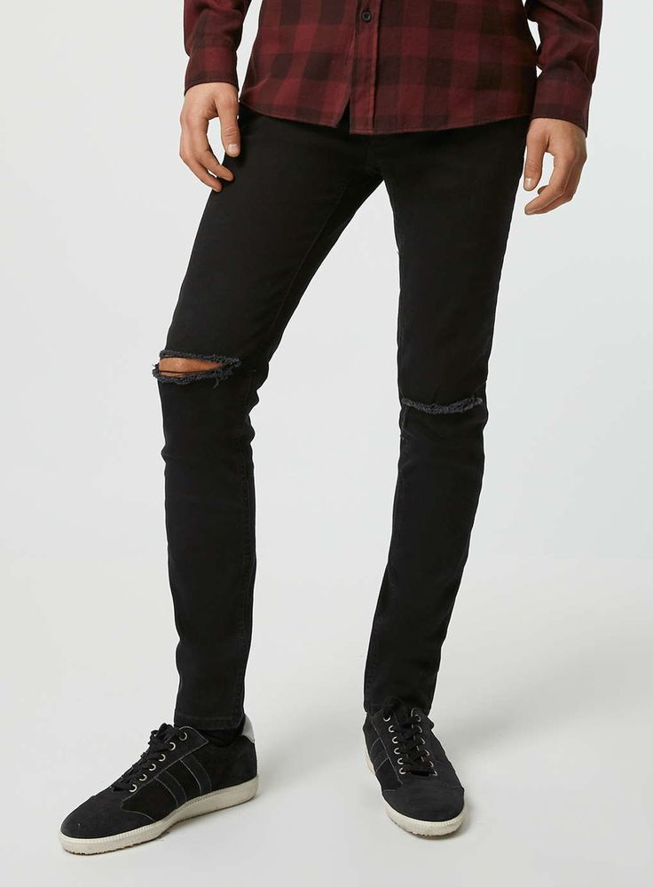 Black Ripped Knee Stretch Skinny Fit Jeans - Men's Jeans ...