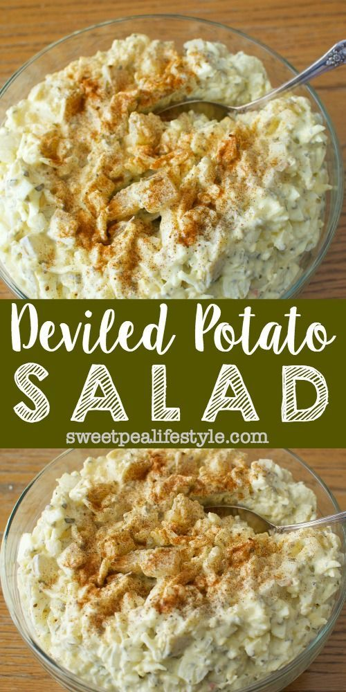 Deviled Potato Salad | Deviled Eggs + Potato Salad. This potato salad is the BEST salad I've ever had. I can't wait to make this for Easter lunch. Definitely taking to church potlucks, as it's the first to go every time!