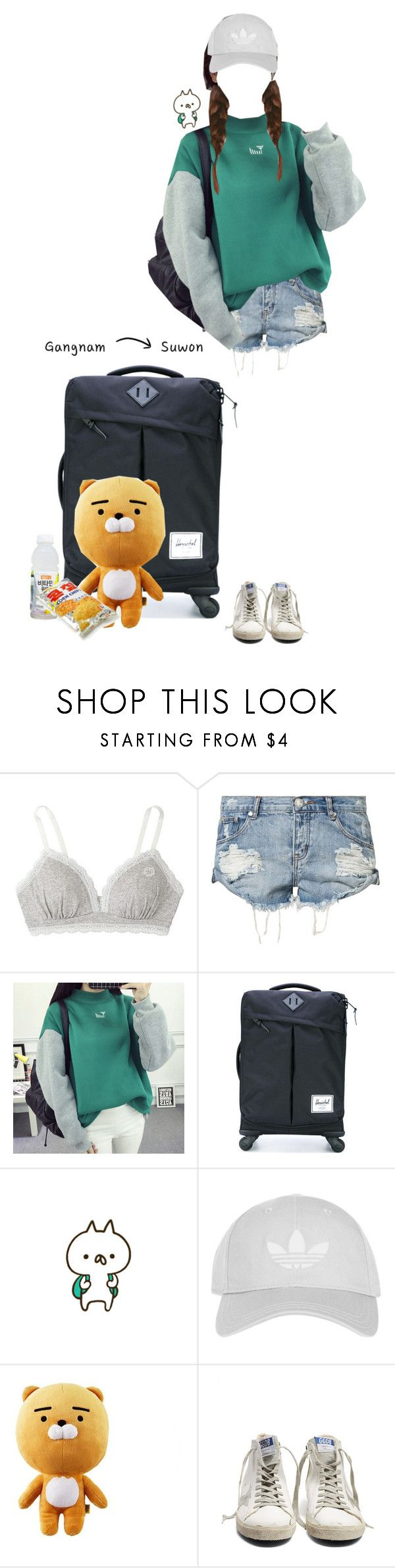 """""""going home for some time."""" by juniel-the-genuine ❤ liked on Polyvore featuring Tsumori Chisato, OneTeaspoon, Herschel Supply Co., Topshop and Golden Goose"""