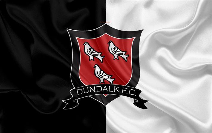 Download wallpapers Dundalk FC, 4K, Irish Football Club, new logo, emblem, League of Ireland, Premier Division, football, Dundalk, Ireland, silk flag, Irish Football Championship