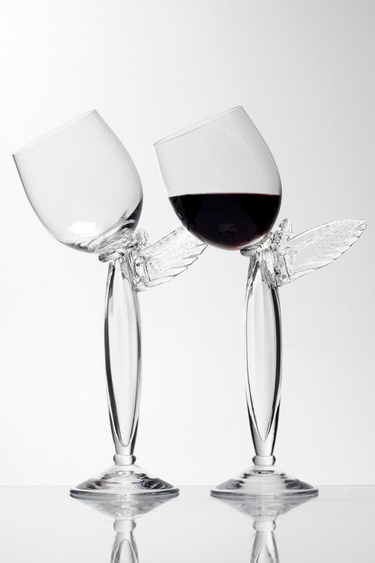 Colibri glass by Borek Sipek. Beautiful wine glass with wings. At the Hans Krug showroom in Charlotte, NC.