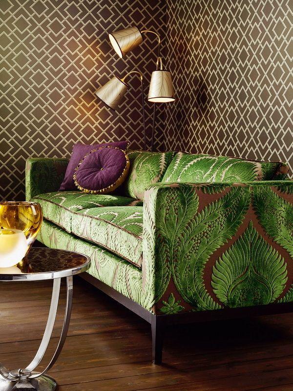 green damask sofa: