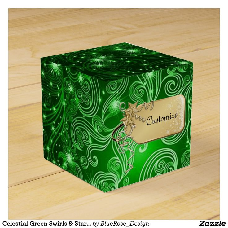 Celestial Green Swirls & Stars Cube Favor Box