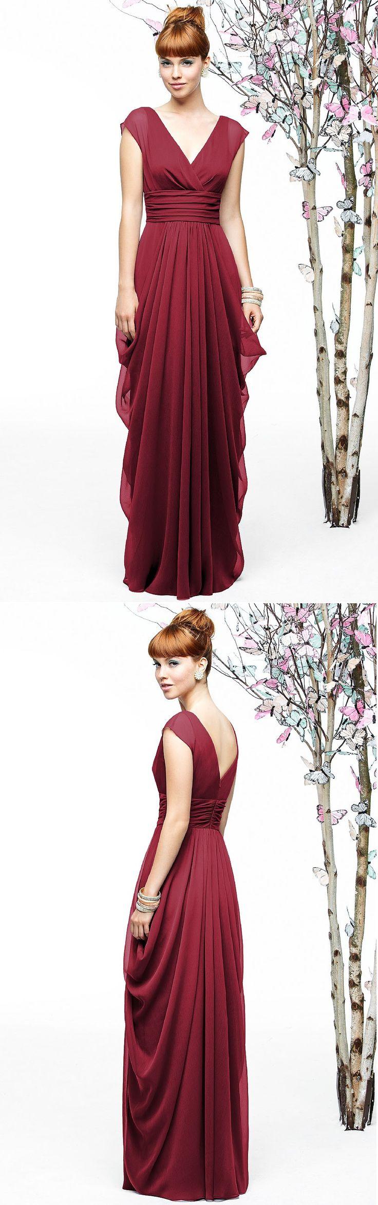 Empire A-line Cap Sleeves Floor-length Zipper Bridesmaid Dresses