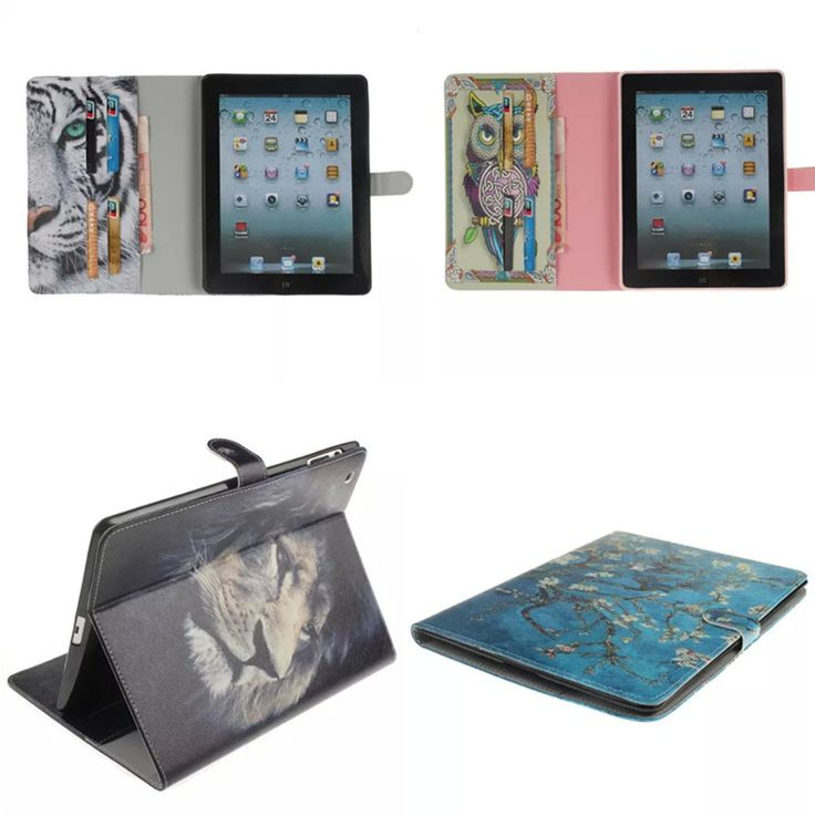 OWL Style Painted With Stand Flip Cute PU Leather+TPU Shell For iPad 2 3 4 Case For Apple iPad2 ipad3 ipad4 Folio Case Cover