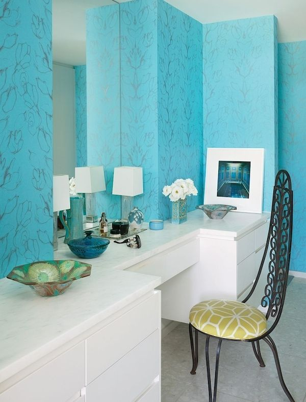 Palm Springs Home Interior Design Blue And White And Mid Century