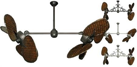 We want to put a ceiling fan in master. 46 inch Twin Star III Double Ceiling Fan - Dark Woven Bamboo Blades