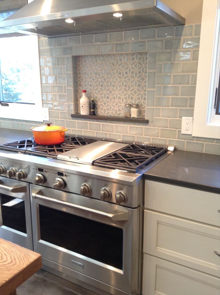 Beautiful Blue Kitchen with Bloom Handmade Tile