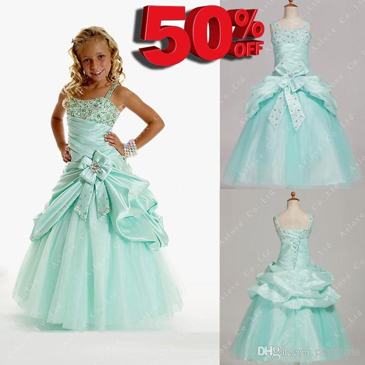 Wholesale Pageant Dress - Buy Cheap In Stock 50% Off Girls Pageant Dresses A-line Spaghetti Straps Floor-Length Mint Taffeta Tulle Flower Girl Dresses Girls Party Gowns, $74.0 | DHgate