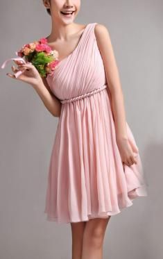 remarkable cute one shoulder pink bridesmaid dress by jjamiemie in Retroterest. Read more: http://retroterest.com/pin/cute-one-shoulder-pink-bridesmaid-dress/