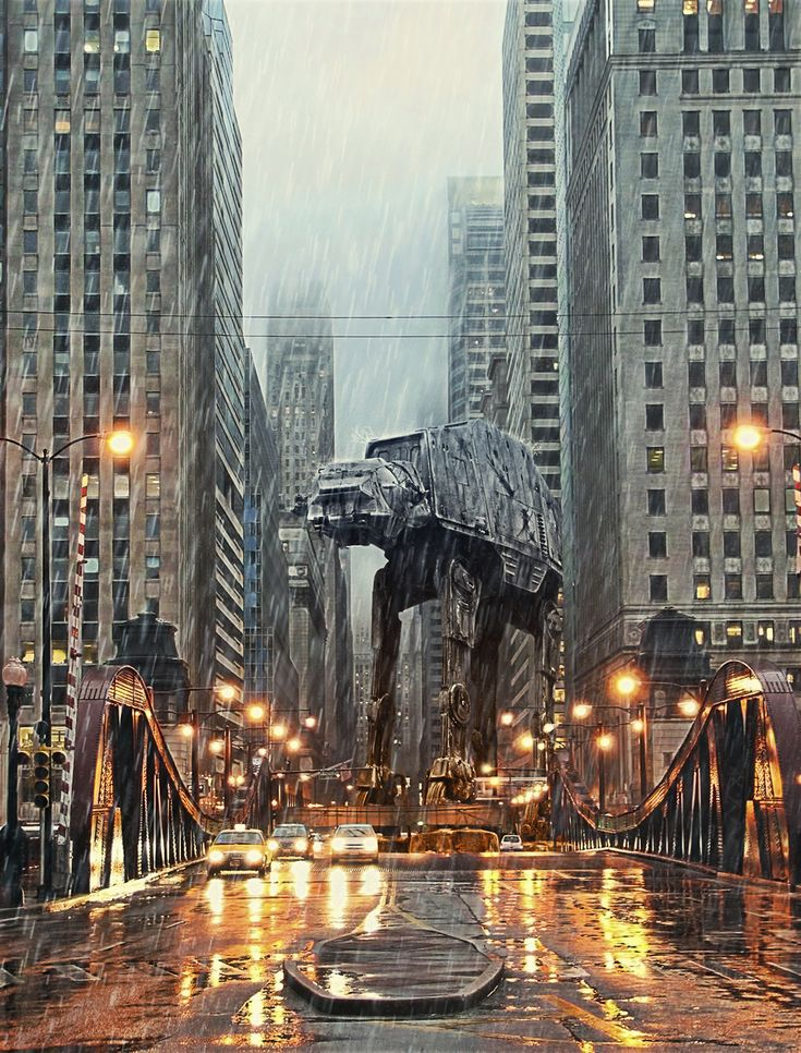 Maybe this is a better way to get around in Chicago traffic.Design Inspiration, Both, Illustration, The Cities, Manhattan, Stars Wars Art, Chicago, New York, Starwars