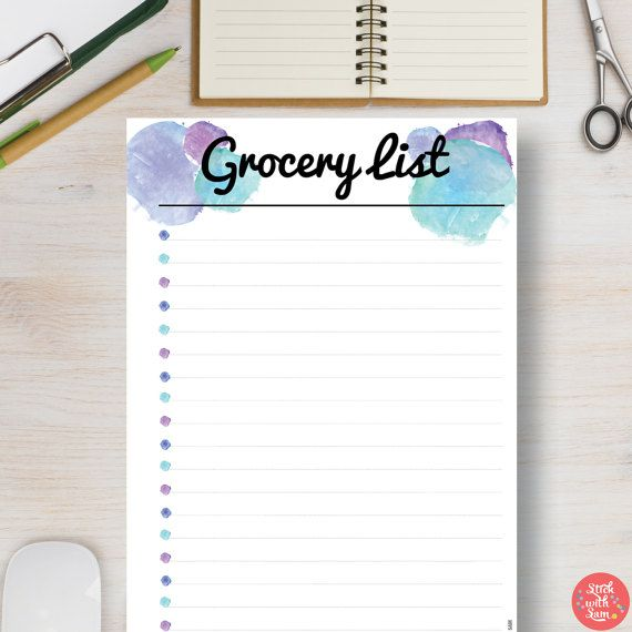 Blue Watercolor Grocery List Printable Planner. Meal Planner Kitchen Organizer Insert. Sizes include: A5, A4, Half Letter & Letter.