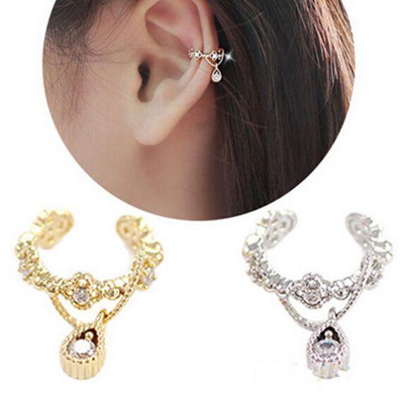 Punk mode baru telinga manset, Bungkus berlian imitasi tulang rawan Clip On anting anting, Non tindik bagi perempuan ER683