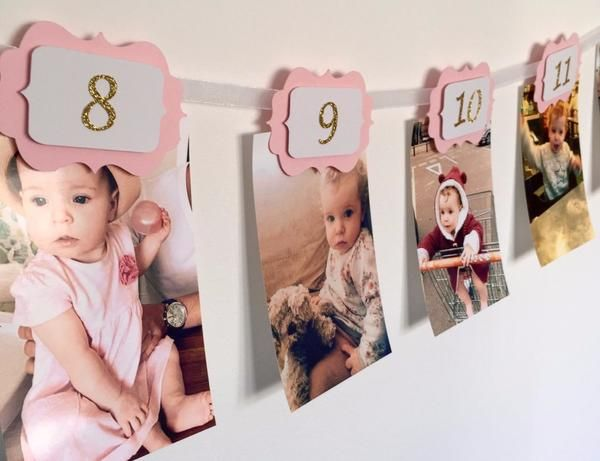 This pink and gold 12 months banner is ideal to show your little one's first year journey month by month. It will give the magical touch to your party. You can hang it up on a wall or just round the table. Each scallop has a 3D effect. All of them have a tiny clothe pin attached to the back to hang up your pictures (as shown on the listing images). They fit horizontal and vertical photos. This listing is for a 12 months photo banner ready to use with numbers in gold glitter. Any item can be…
