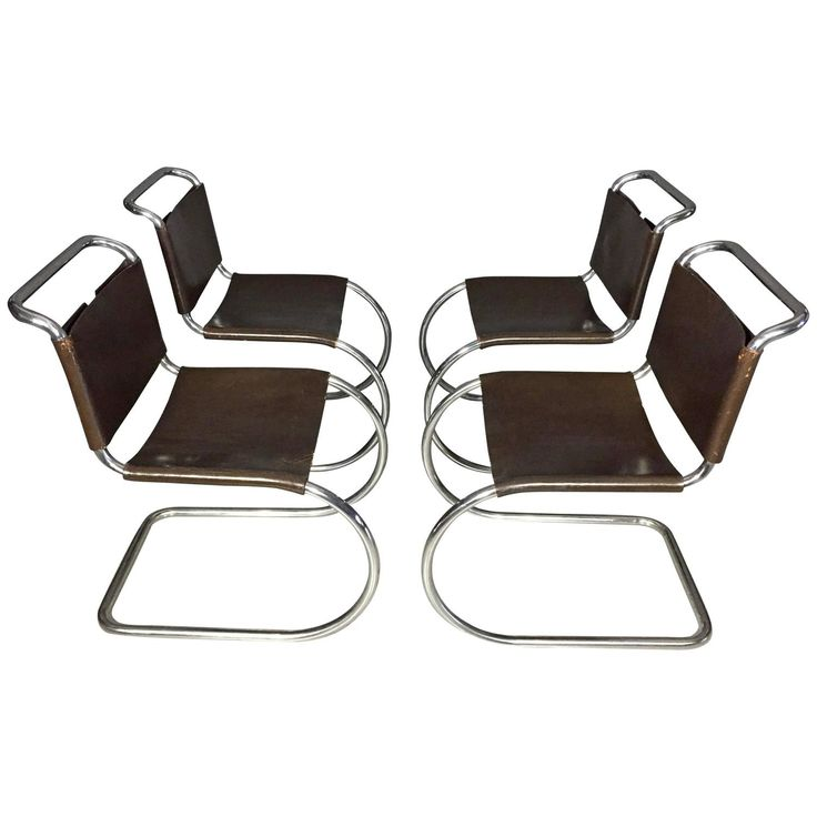 Four Mies van der Rohe MR Chairs for Knoll, Leather and Tubular Steel, USA 1