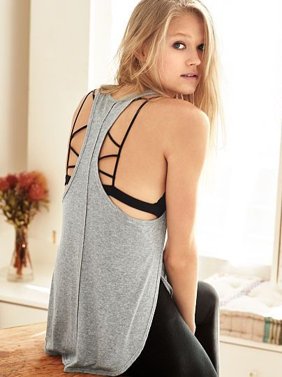 This tank lets you show some strap. | Victoria's Secret Shirttail Tank