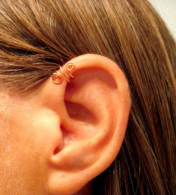 """No Piercing Handmade Helix Cuff Ear Cuff """"Spiral Up"""" 1 Cuff - Copper or 17 Color Choices"""