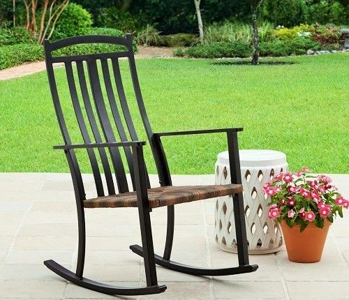 metal rocking chair wicker patio outdoor indoor porch rocker seat relax garden