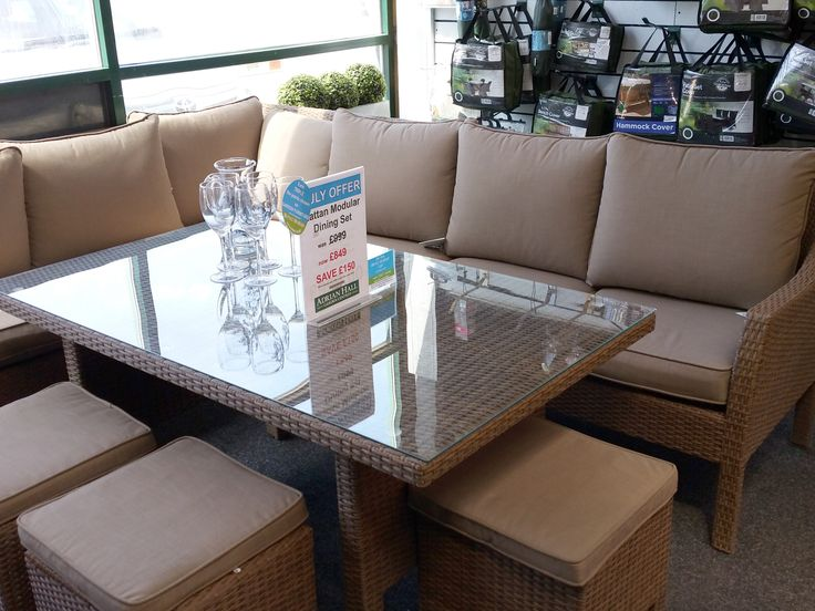 The fabulous corner modular dining table in rattan is now £150 off until the end of July.