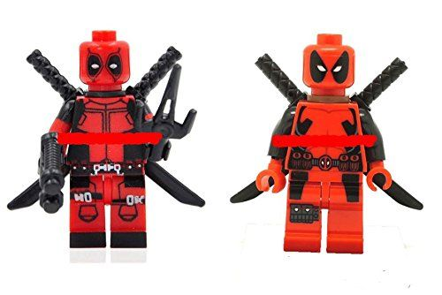 LipstickIndy 2PCS DEADPOOL MINIFIGURES X-MEN Red Suit with Stand and Weapon @ niftywarehouse.com