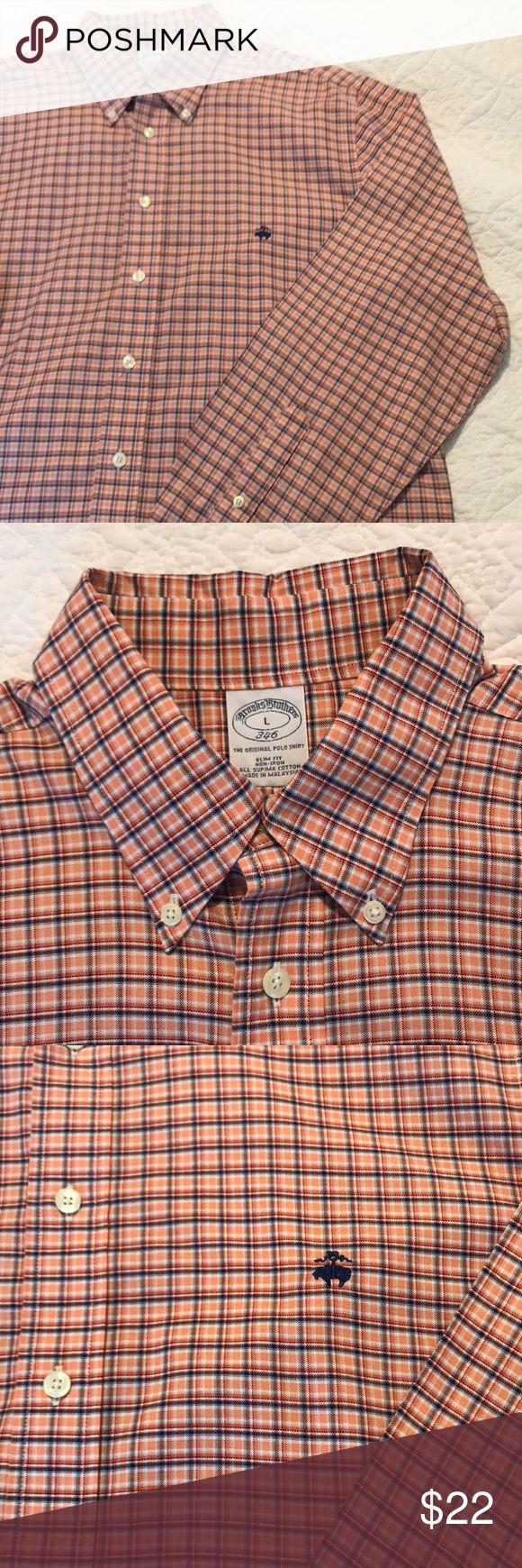 Brooks Brothers orange button down non-iron shirt Light Orange plaid Brooks Brothers Button Down Shirt. Slim Fit, Non-Iron. All Supima Cotton Brooks Brothers Shirts Casual Button Down Shirts