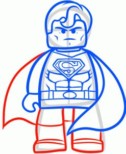 how to draw superman from the lego movie step 9