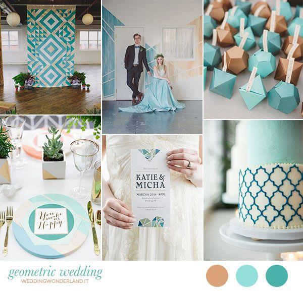 turquoise and gold geometric wedding inspiration http://weddingwonderland.it/2015/10/matrimonio-nordico-geometrico.html