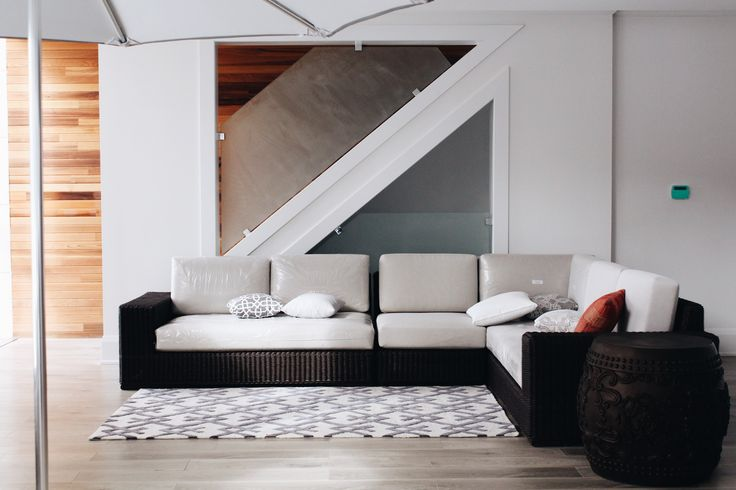 a chic rug completes the look