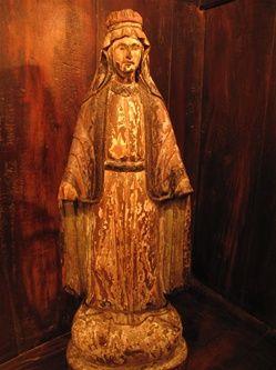 Antique Spanish Colonial Period Hardwood Madonna Relic Figure