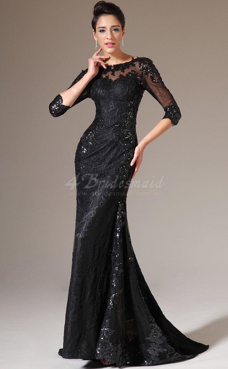 Bateau Neckline Long Mermaid Black Lace Prom Dress with Long Sleeves -JT1316