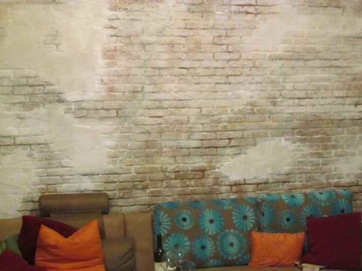 rustikale steinwand im wohnzimmer mit der wandpaneele brooklyn - Steinwand
