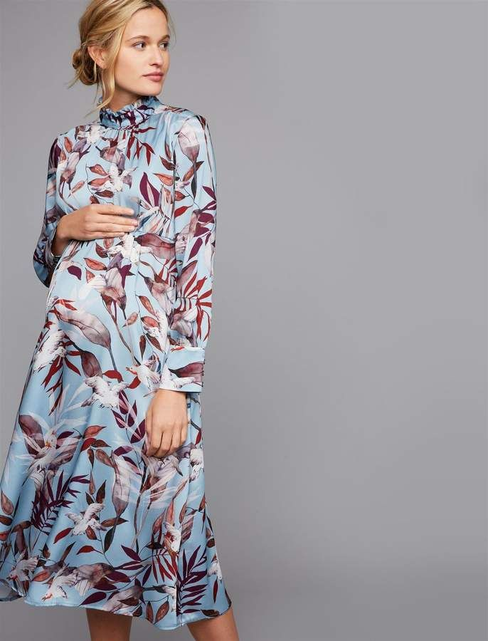 13fdbcbc04702 Pietro Brunelli Penelope Ruched Maternity Dress. pietro brunelli maternity  dress long sleeve mock neck midcalf length ruched printed fabric polyester  ...