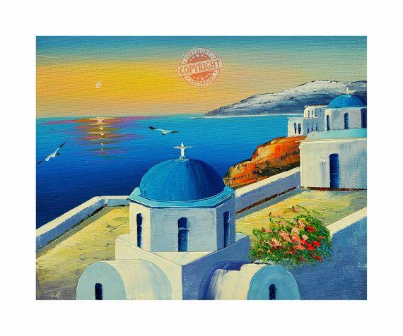 Santorini 9- Oil Painting,Original Painting on Canvas,Palette Knife,Landscape Painting, Santorini Greece,Sunset Painting,Blue Canvas Art