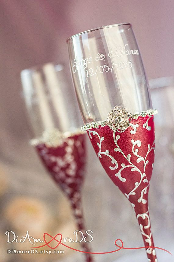 Marsala and silver wedding champagne glasses from the by DiAmoreDS