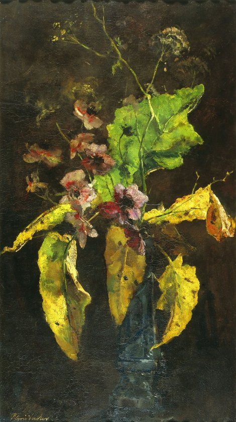 Floris Hendrik Verster, Bloemstilleven: Anemonen en bladeren