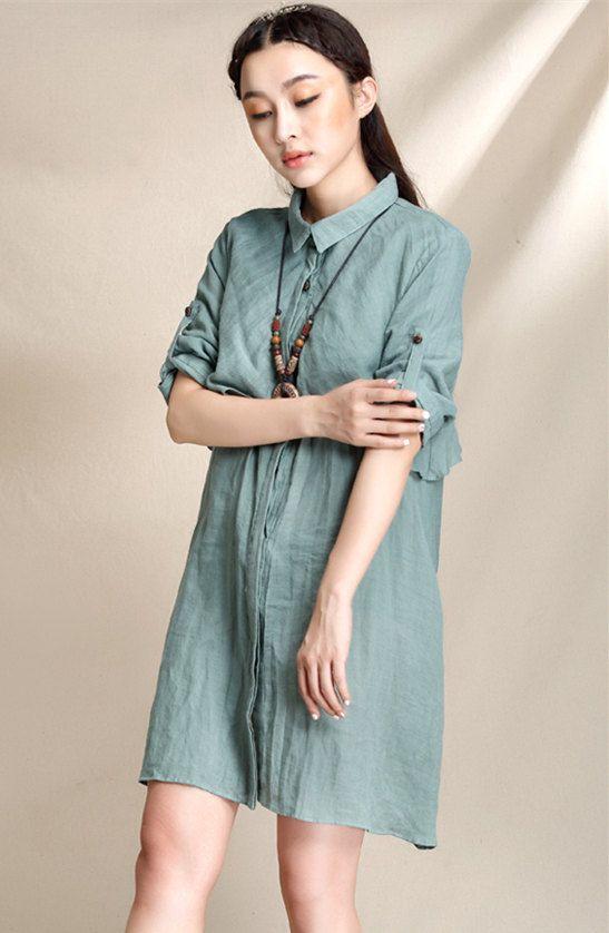 Elegant trench style short linen shirt dress by EasternSilkRoad
