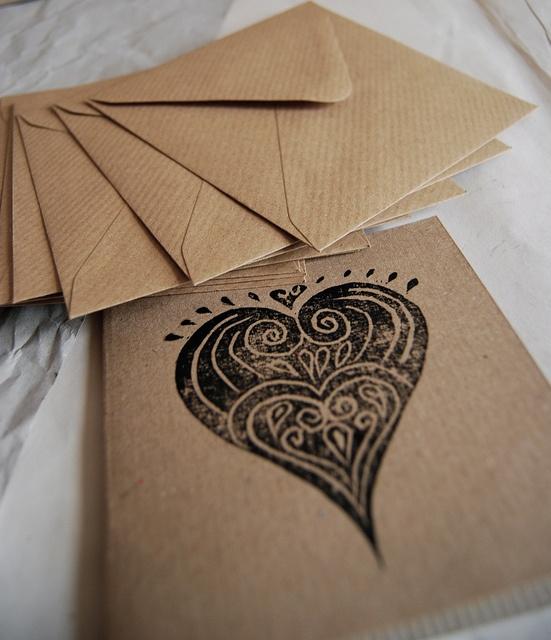lino print cards by myartstudiocreations, via Flickr