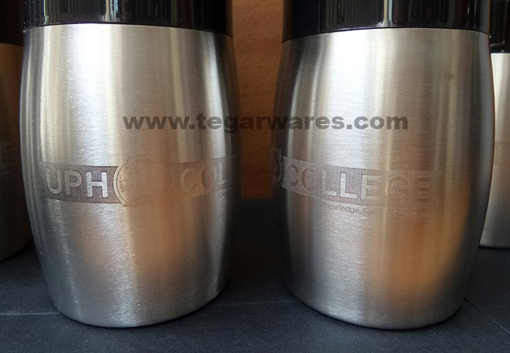Print logo with engraving techniques on stainless steel side on body. Sport tumbler ordered by Universitas Pelita Harapan (UPH College) an international standard school in Tangerang, Indonesia. to be distributed to the participants of the events and sports competitions which they held at the school.