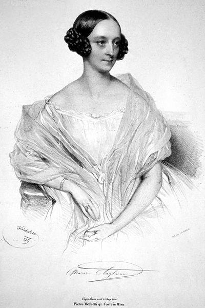 Marie Taglioni (1804-1884) war eine schwedisch-italienische Tänzerin des Biedermeier und gilt als erste Meistern des Ballettanzes auf den Fußspitzen. Hier sieht man sie auf einer Lithografie von 1839 von Josef Kriehuber.