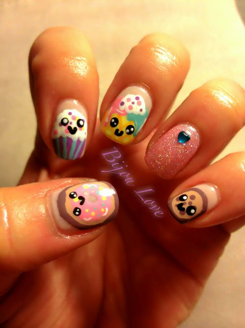 Sweets nail art inspired by YouTube r Reneirainyday from her Cute icecream summer nail art tutorial