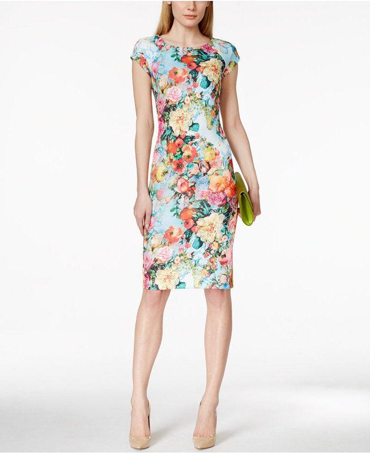 ECI ECI Floral-Print Scuba Sheath Dress