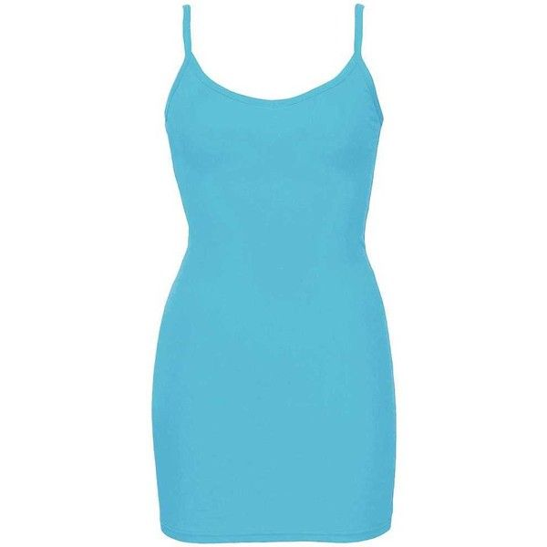 BKE Extra Long & Lean V-Neck Tank Top - Turquoise/Blue X-Small ($6.30) ❤ liked on Polyvore featuring tops, blue tank top, spaghetti-strap tank tops, v-neck tank tops, extra long tank tops and low v neck tops