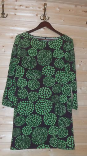MARIMEKKO-MIKA-PIIRAINEN-STRETCH-COTTON-TUNIC-DRESS-SZ-L-DOT-PATTERN-BROWN-GREEN