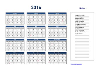2016 yearly excel calendar