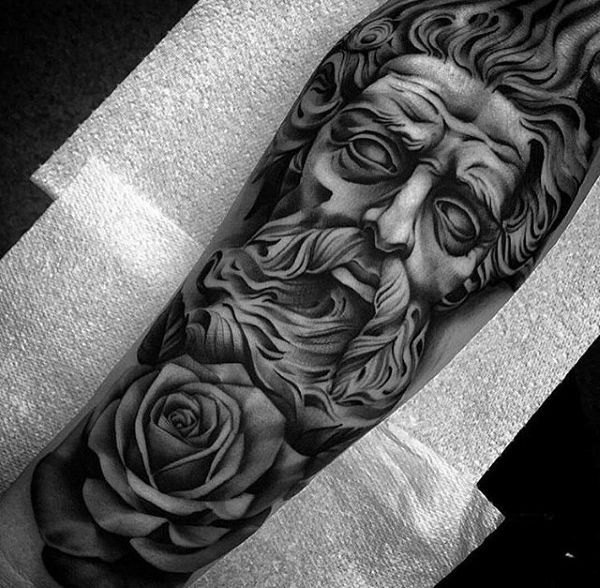 Guys Greek God Rose Flower Forearm Sleeve Tattoos